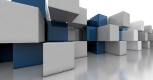 3D animated stacks of blue and white boxes
